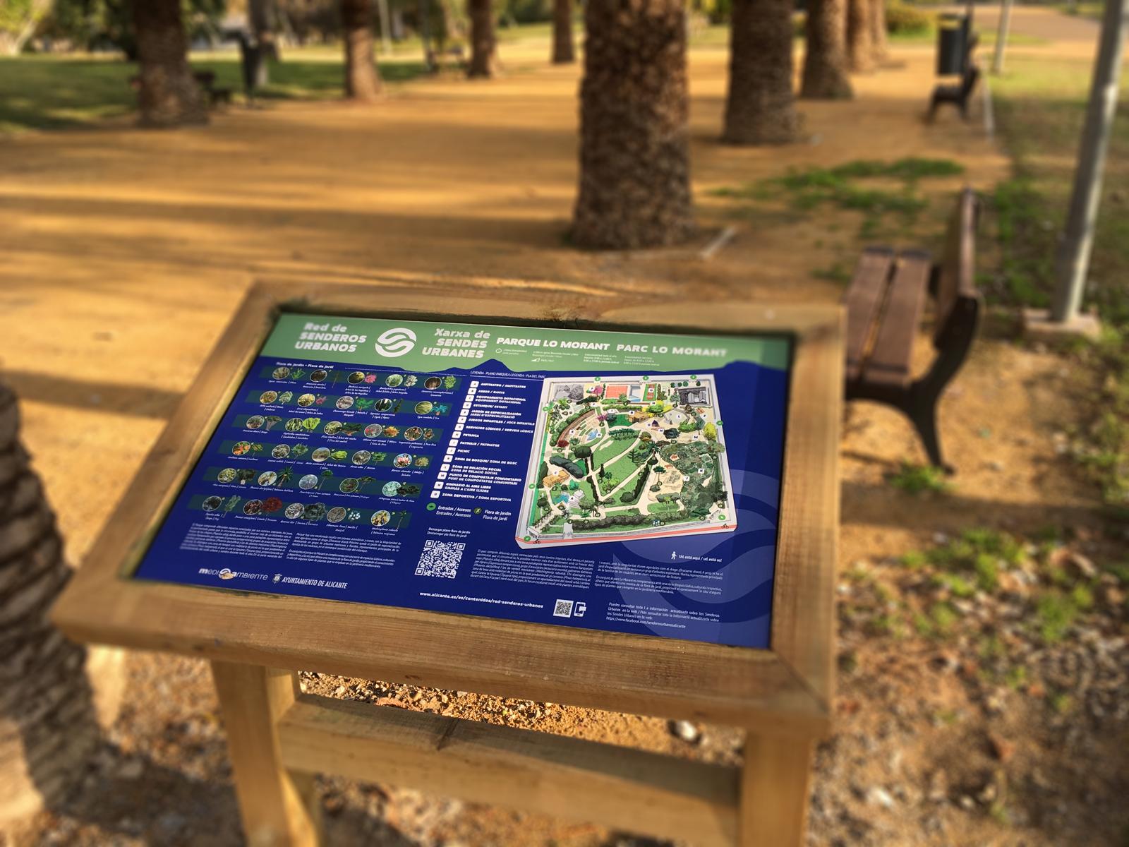 Mesa de interpretación de especies vegetales en el Parque Lo Morant