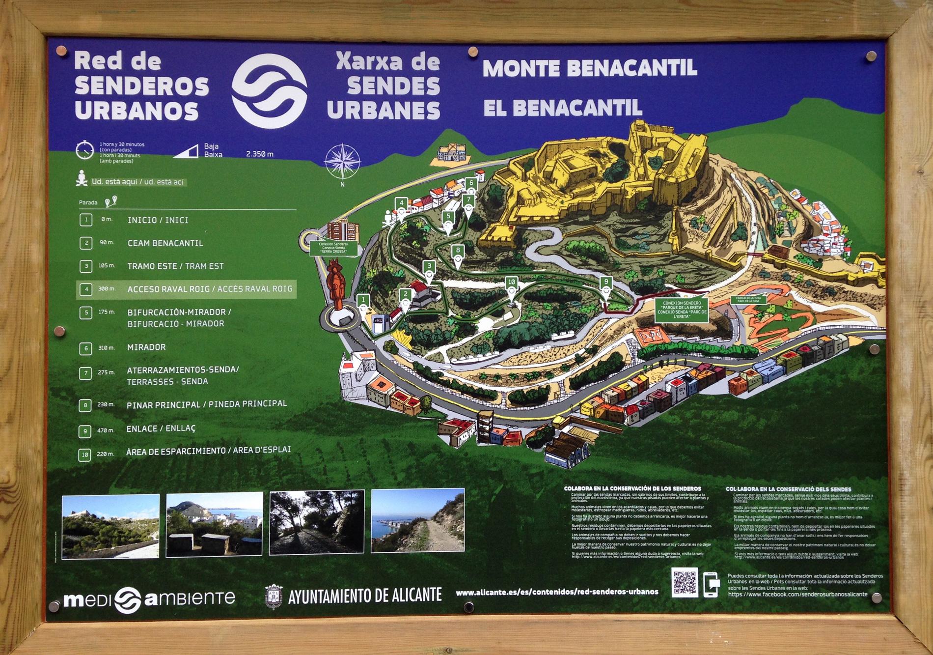 Señaletica de Patrimonio Integral en el Monte Benacantil