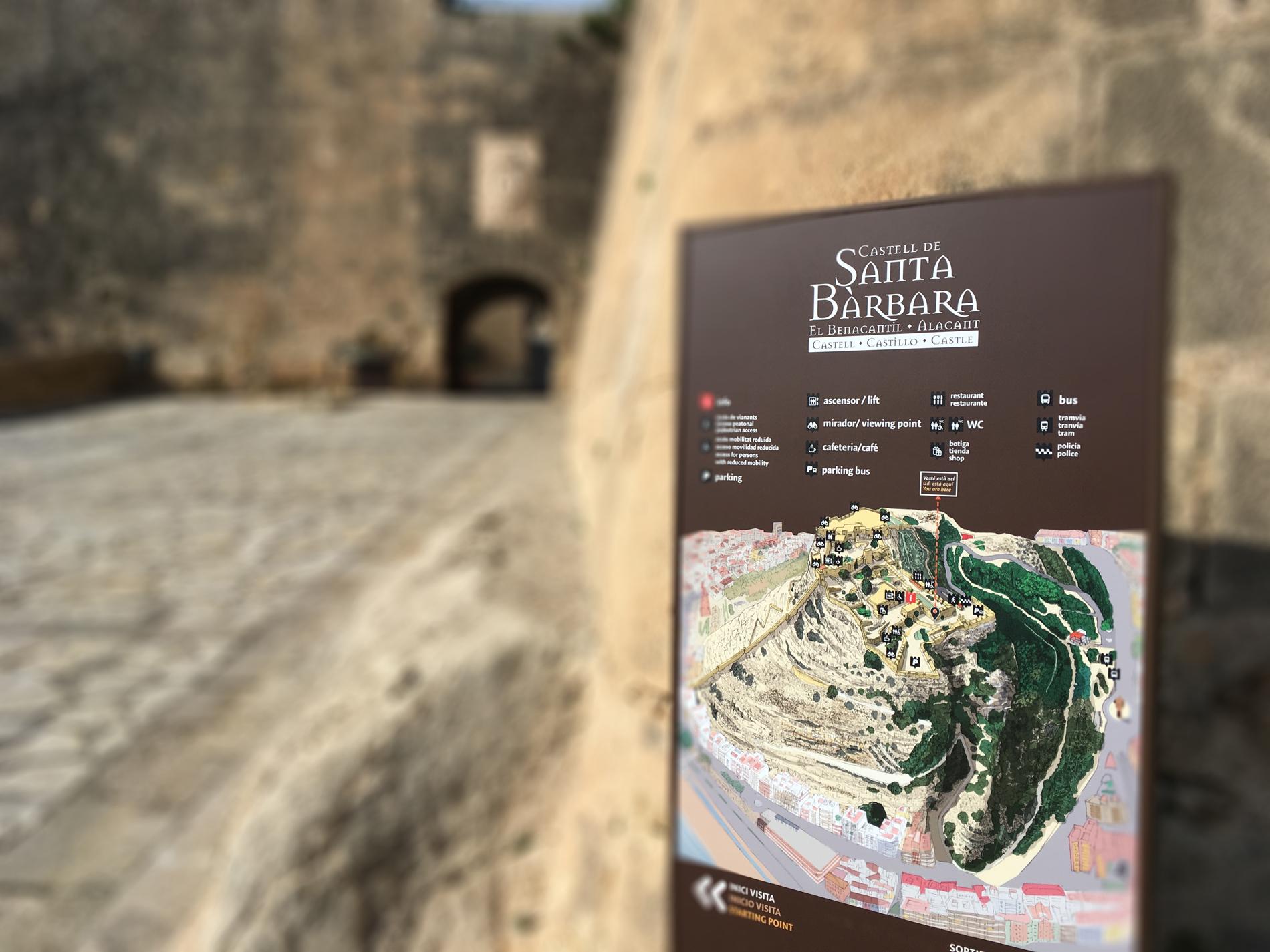Totem de señáletica en la Fortaleza del Castillo de Santa Bárbara