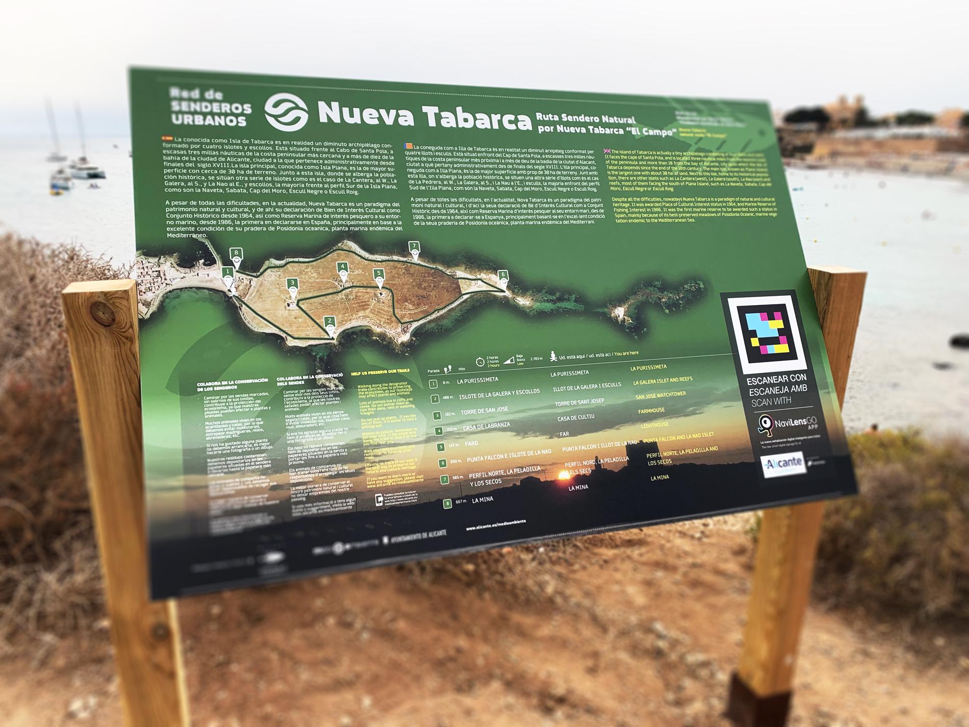 Señalética en el Campo de Nueva Tabarca